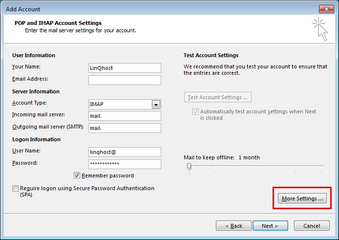 Toevoegen/wijzigen van account in Outlook