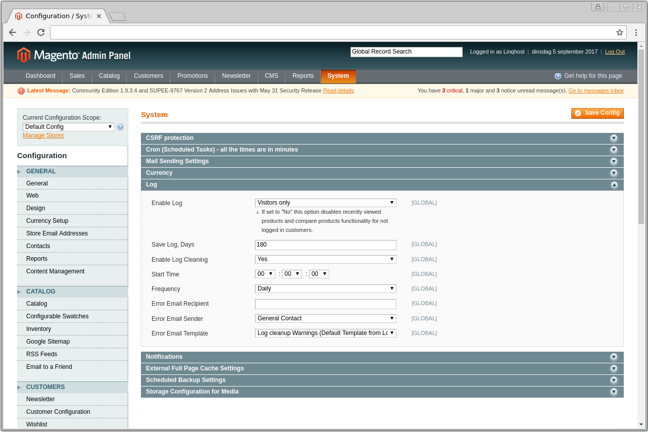 Magento1 log settings